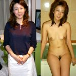 人妻熟女の服を着てる写真と全裸の写真を並べた素人ギャップエロ画像!