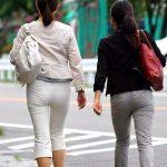 ぴっちりパンツ穿いた人妻熟女のパンティラインが抜ける着衣尻エロ画像